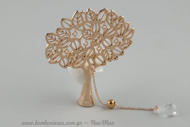 Δέντρο της Ζωής με φυλλαράκια (737028), μονό κουφέτο κι αλυσιδούλα για την ξεχωριστή μπομπονιέρα του γάμου σας.