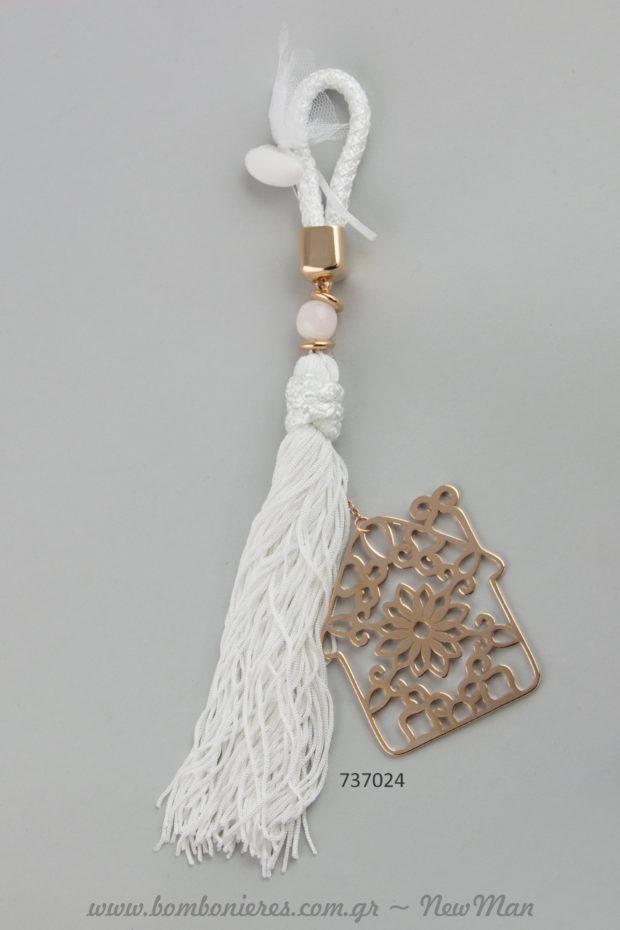 Μπομπονιέρα γάμου – «γούρι» σε λευκό χρώμα με Σπίτι (737024).
