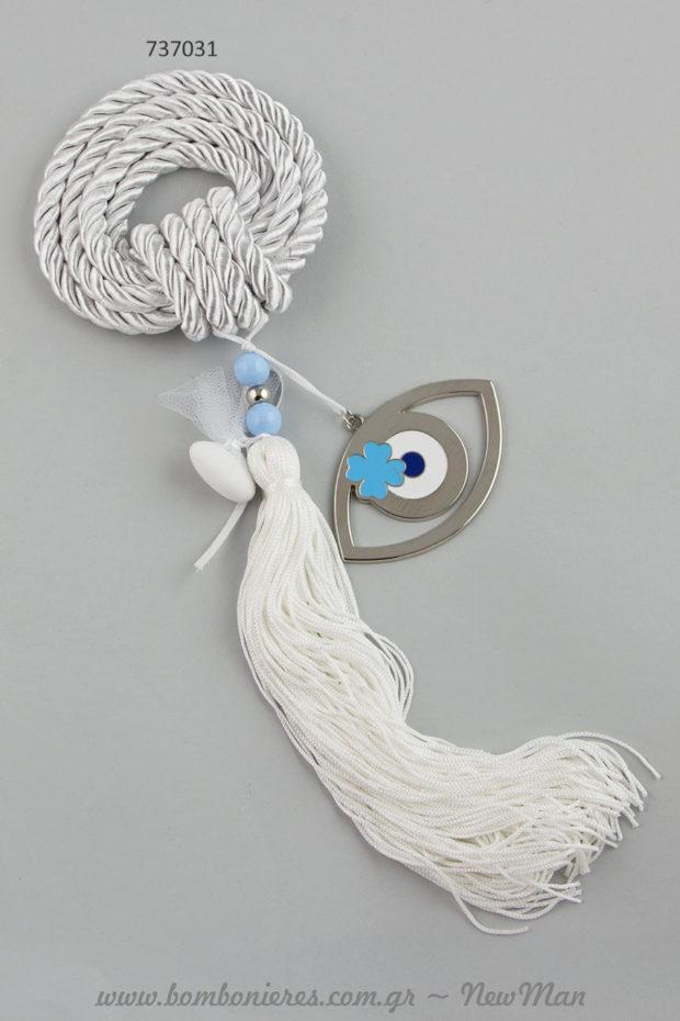 Μπομπονιέρα γάμου – «γούρι» σε λευκό-γκρι χρώμα με μάτι και τετράφυλλο τριφύλλι (737031).
