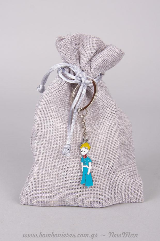 Μπομπονιέρα βάπτισης σε πουγκί από καμβά με κορδόνι (12 x 16cm)διακοσμημένο με «Μικρό Πρίγκηπα».