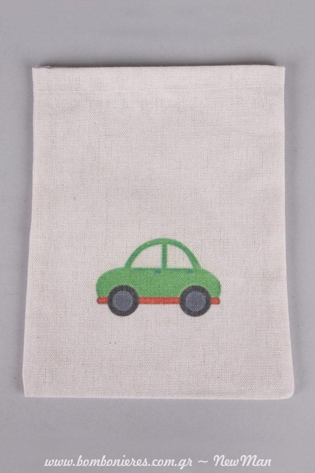 Λινό εκρού πουγκάκι με σχέδιο αυτοκίνητο για την μπομπονιέρα της βάπτισης.
