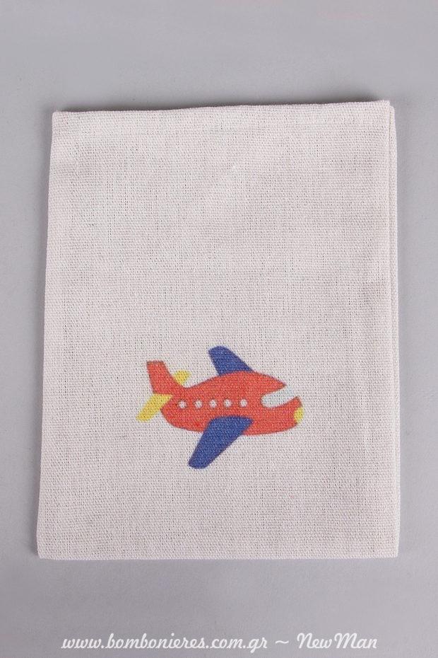 Λινό εκρού πουγκάκι με σχέδιο αεροπλάνο για την αγορίστικη μπομπονιέρα (14 x 18cm).