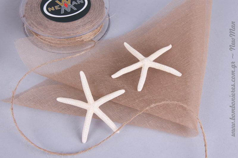 Κορδόνι γιούτα ψιλό σε φυσική απόχρωση και διακοσμητικοί αστερίες (δάκτυλο) 6- 8cm.