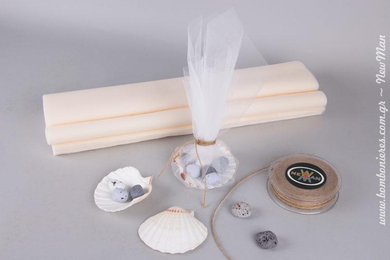 Μπομπονιέρα γάμου με χτένι θαλάσσης (scallop)