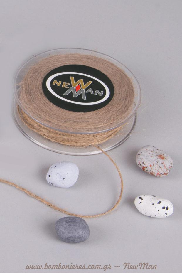 Κορδόνι γιούτα ψιλό και κουφέτα-βότσαλα Χατζηγιαννάκης για μπομπονιέρες με έμπνευση θάλασσα και καλοκαίρι.