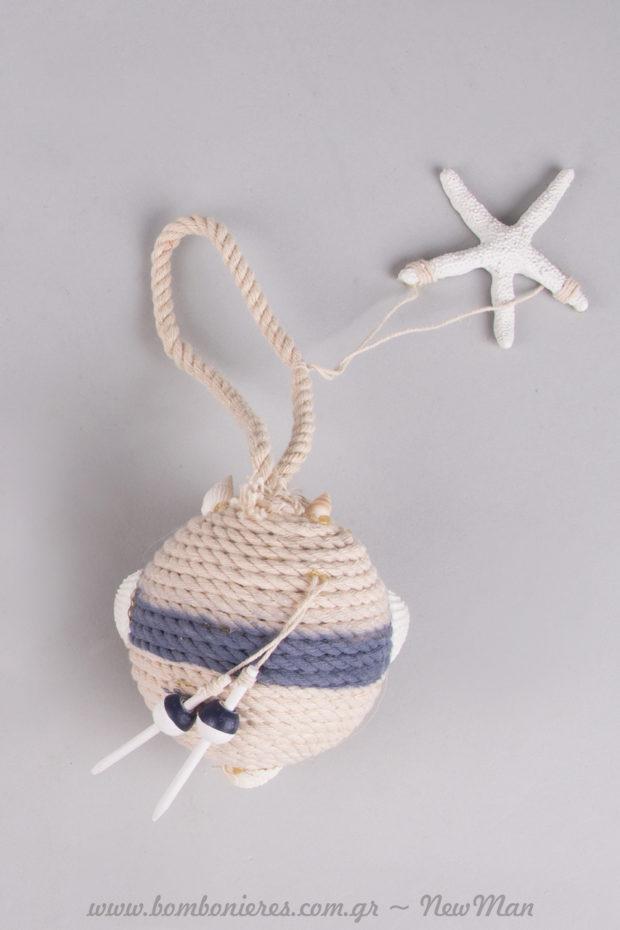 Κρεμαστή μπάλα από σχοινί με αστερία για τις λαμπάδες (γάμου & βαπτιστικές) ή τη διακόσμηση.