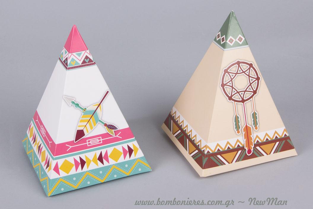 Χάρτινα κουτιά εμπνευσμένα από την ινδιάνικη παράδοση για μια οικονομική μπομπονιέρα βάπτισης.