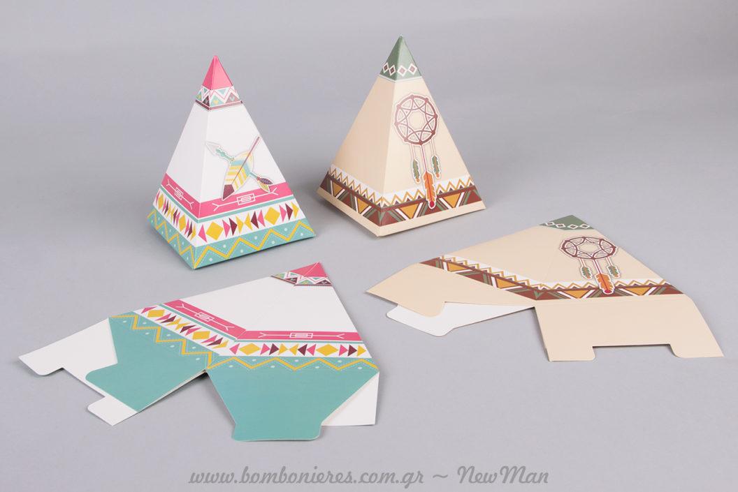 Μπομπονιέρα σε χάρτινο κουτί (ινδιάνικη σκηνή) σε δυο διαφορετικά σχέδια: teepee με φτερό σε παστέλ αποχρώσεις και teepee με ονειροπαγίδα σε γήινους/ boho τόνους.