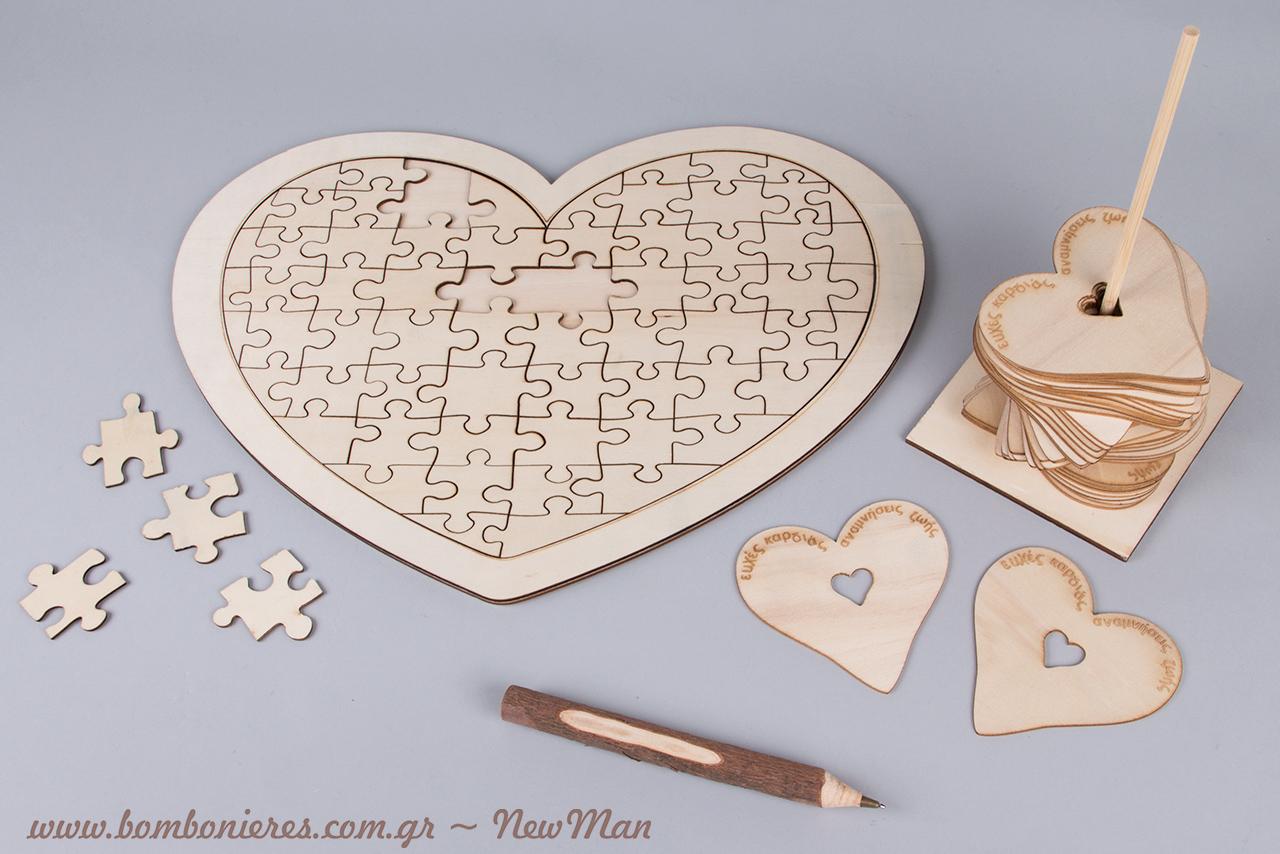 Φυσικές αποχρώσεις (ξύλο) για ένα boho/παιχνιδιάρικο τραπέζι ευχών.