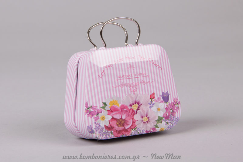 Μεταλλικό βαλιτσάκι (τραπέζιο) σε ροζ ριγέ με λουλούδια για την μπομπονιέρα του γάμου ή της βάπτισης της μικρής σας πριγκίπισσας.