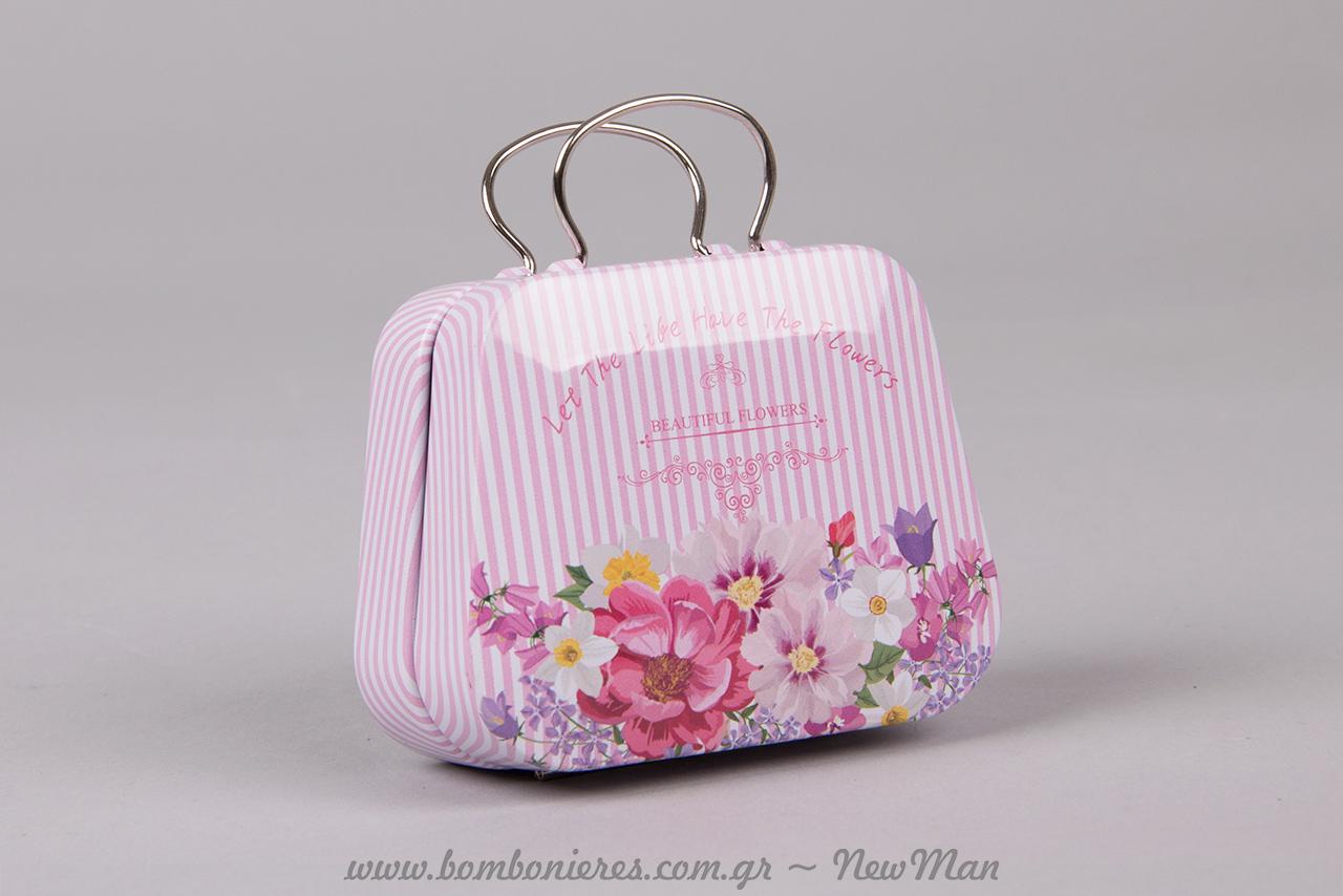 1317497435 ... Μεταλλικό βαλιτσάκι (τραπέζιο) σε ροζ ριγέ με λουλούδια για την  μπομπονιέρα του γάμου ή
