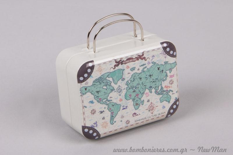 Μεταλλικό βαλιτσάκι με Παγκόσμιο Χάρτη (75 x 35 x 30mm) για την μπομπονιέρα γάμου & βάπτισης.