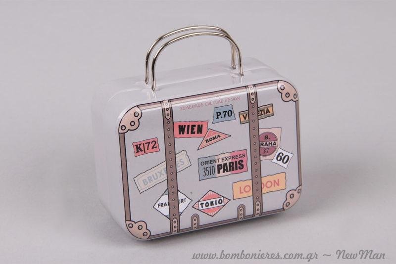 Μεταλλικό βαλιτσάκι/ tin με θέμα ταξίδι στις αγαπημένες μεγάλες πρωτεύουσες: Παρίσι, Λονδίνο, Τόκυο, Βρυξέλες κα.