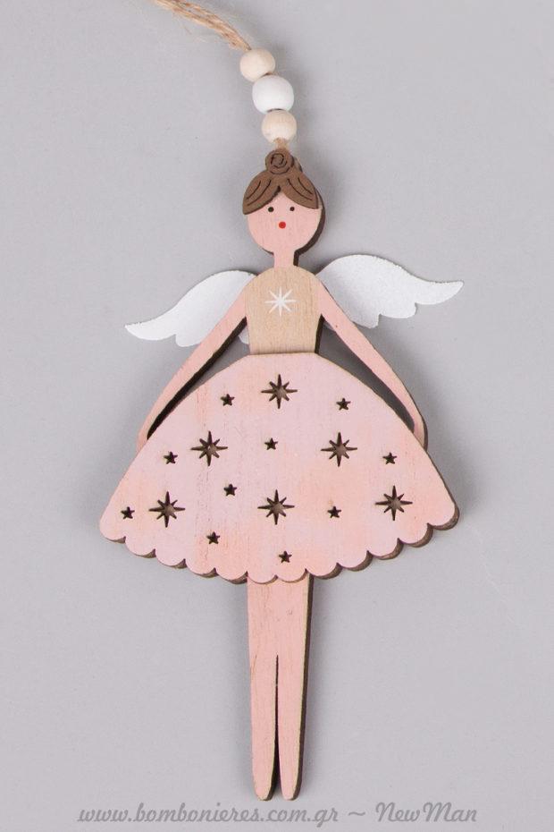 Κρεμαστό ξύλινο διακοσμητικό (κορίτσι με φτερά αγγέλων) για το στολισμό της κοριτσίστικης βαφτιστικής λαμπάδας.