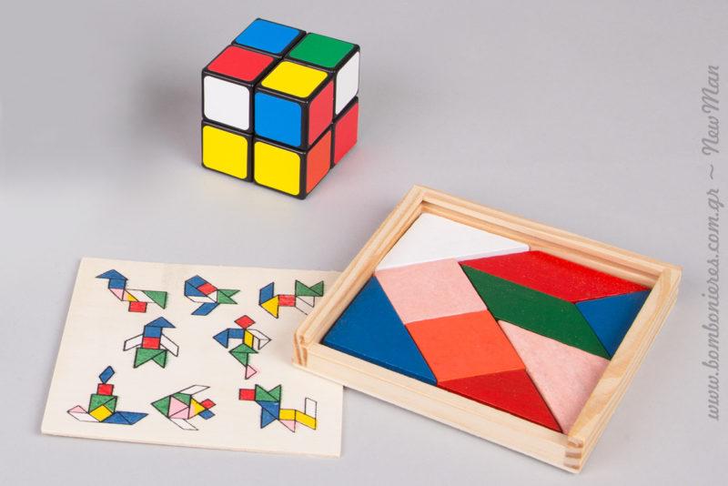 Παιδικός κύβος του Ρούμπικ και ξύλινο παζλ Tangram για το τραπέζι των ευχών και το στολισμό της βάπτισης.