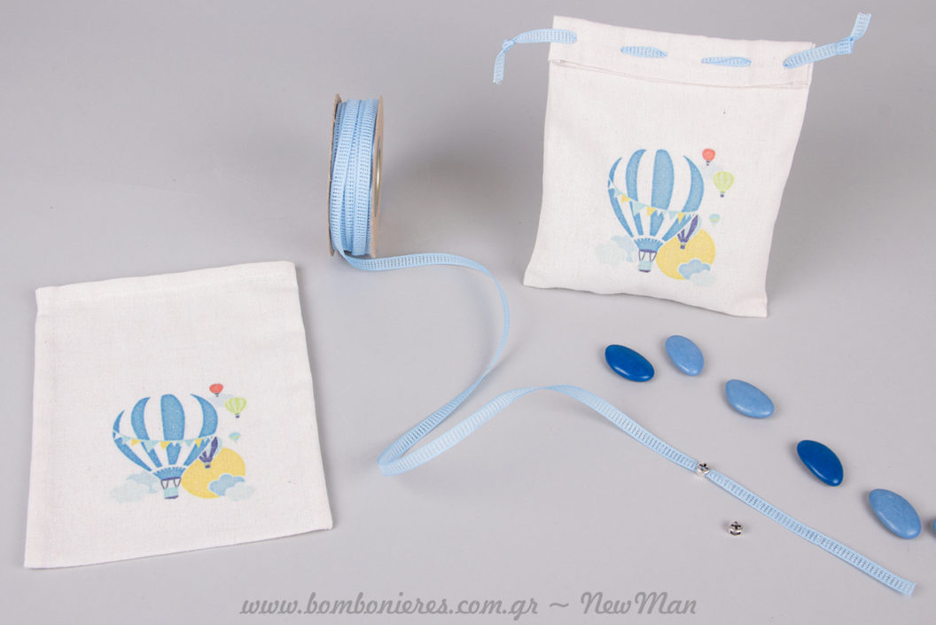 DIY μπομπονιέρες με θέμα Αερόστατο και DIY μαρτυρικά σε κορδέλα φιλντιρέ (σιέλ) για τη βάπτιση του μικρού σας.