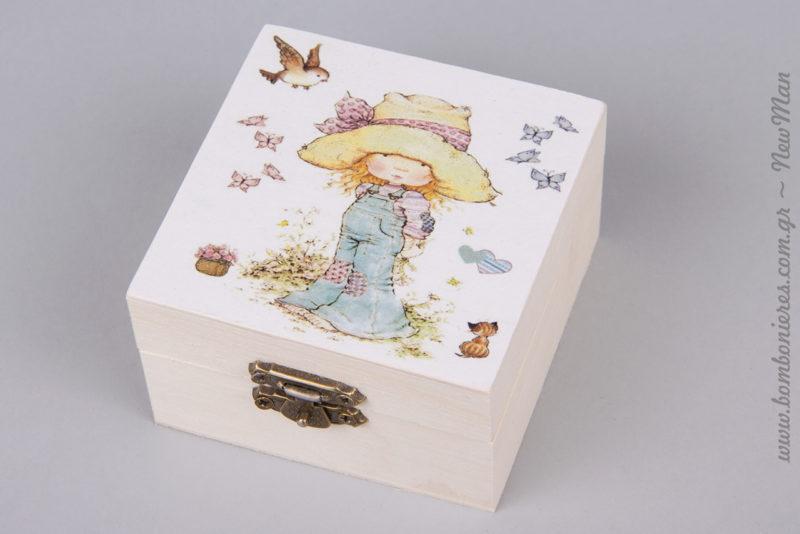 311273 - Ξύλινη μπιζουτιέρα με σχέδιο Sarah Kay (κορίτσι με πεταλούδες και πουλιά).