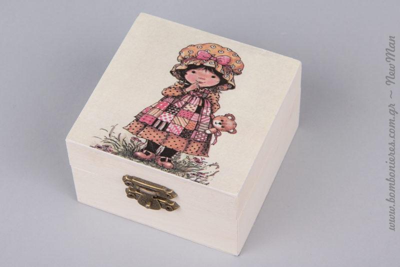 311272 - Ξύλινη μπιζουτιέρα με σχέδιο Sarah Kay (κορίτσι με αρκουδάκι).