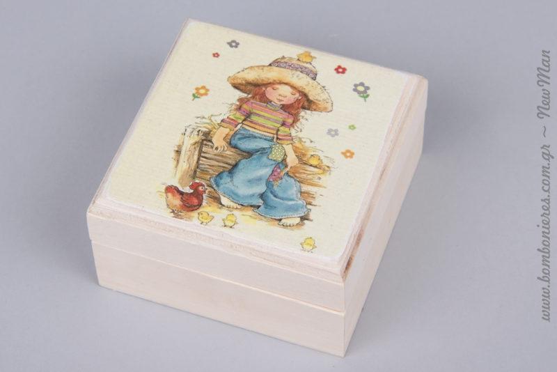 311276 - Ξύλινη μπιζουτιέρα με σχέδιο Sarah Kay (κορίτσι με ψάθινο καπέλο και κοτοπουλάκια).