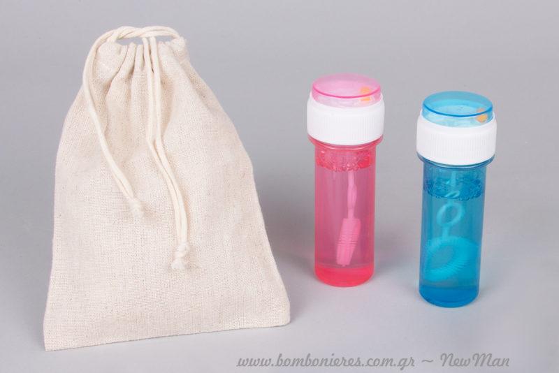 Φούσκες σε ροζ ή σιέλ μέσα σε πουγκί από καραβόπανο για τις παιδικές μπομπονιέρες ή τα δωράκια σας.