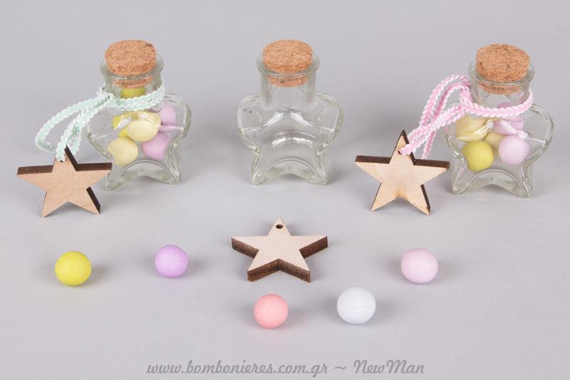Ξύλινα αστεράκια για την μπομπονιέρα της βάπτισης (αγόρι & κορίτσι).