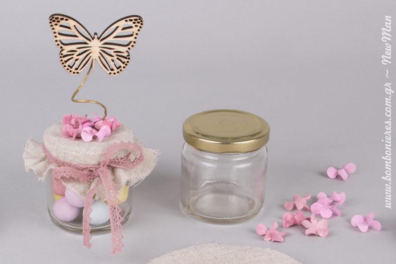 Ρομαντική μπομπονιέρα βάπτισης: «Μια μικρή πεταλούδα», σε βαζάκι στρογγυλό CEE (10ml).