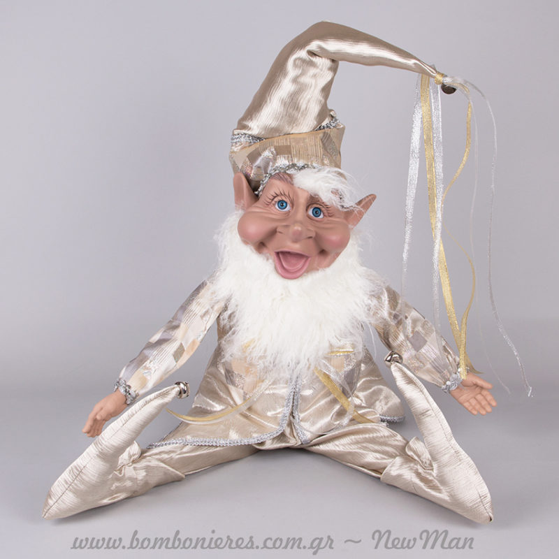 Λαμπερό Χριστουγεννιάτικο Ξωτικό (ασημό- χρυσαφί) για την εορταστική σας διακόσμηση.