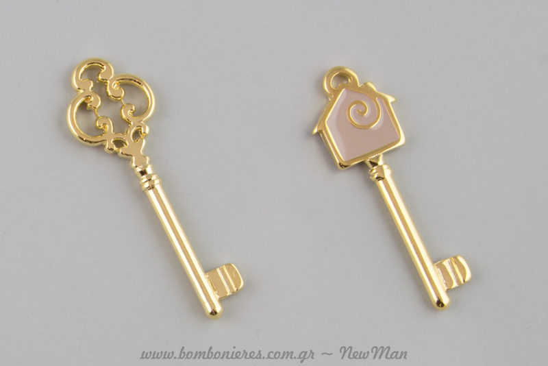 Χρυσαφί κλειδί (25 x 80mm) και κλειδί με σμάλτο και χρώμα (30 x 70mm).