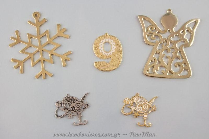 Χιονονιφάδες, αγγελάκια, ο αριθμός 9 και γλυκούλικα ξωτικά για τα γούρια, τα στολίδια και τις διακοσμητικές συνθέσεις σας.
