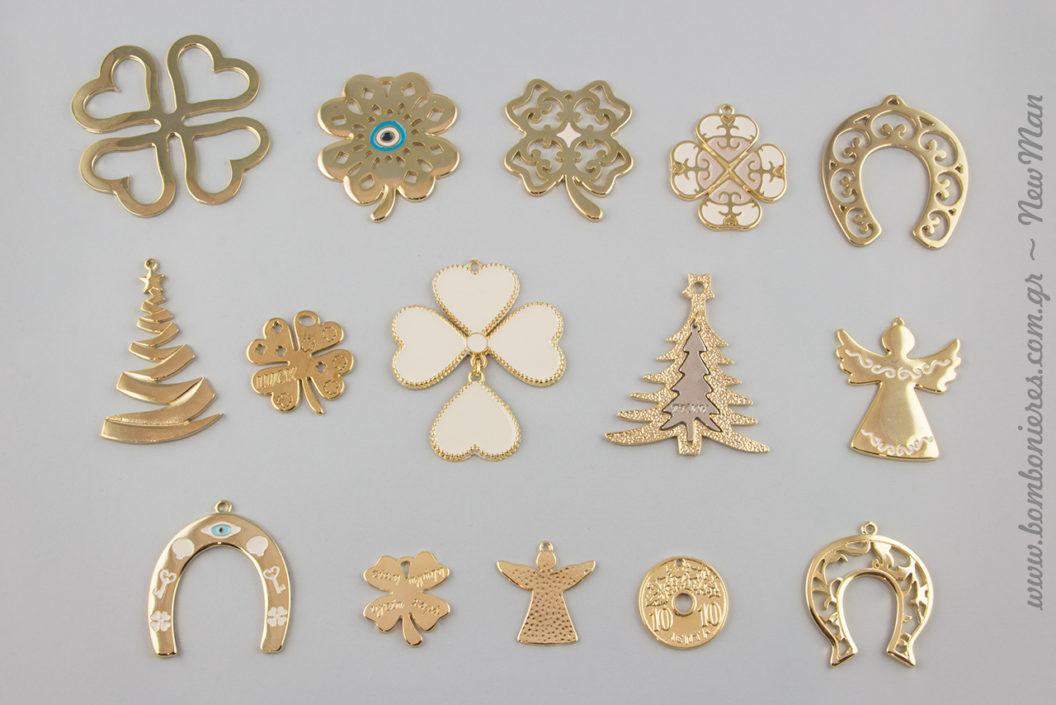 Κρεμαστά μεταλλικά διακοσμητικά στοιχεία: δεντράκια, δεκάρα, πέταλα, τετράφυλλα τριφύλλια και αγγελάκια για τα DIY γούρια-δωράκια σας.