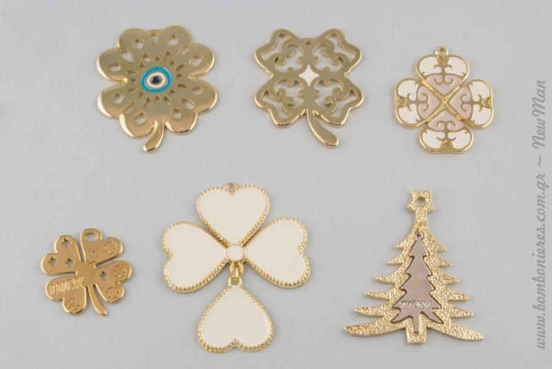 Τετράφυλλο τριφύλλι σε χρυσαφένια απόχρωση και σε 5 διαφορετικά σχέδια & χρυσαφί χριστουγεννιάτικο δεντράκι (688204).
