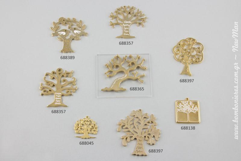 Δέντρα μεταλλικά γεμάτα ευχές, μεταλλικό δέντρο με ευχές σε Plexiglas (688365) και χρυσαφί τετράγωνο με Δέντρο (688138) για τα DIY γούρια σας.