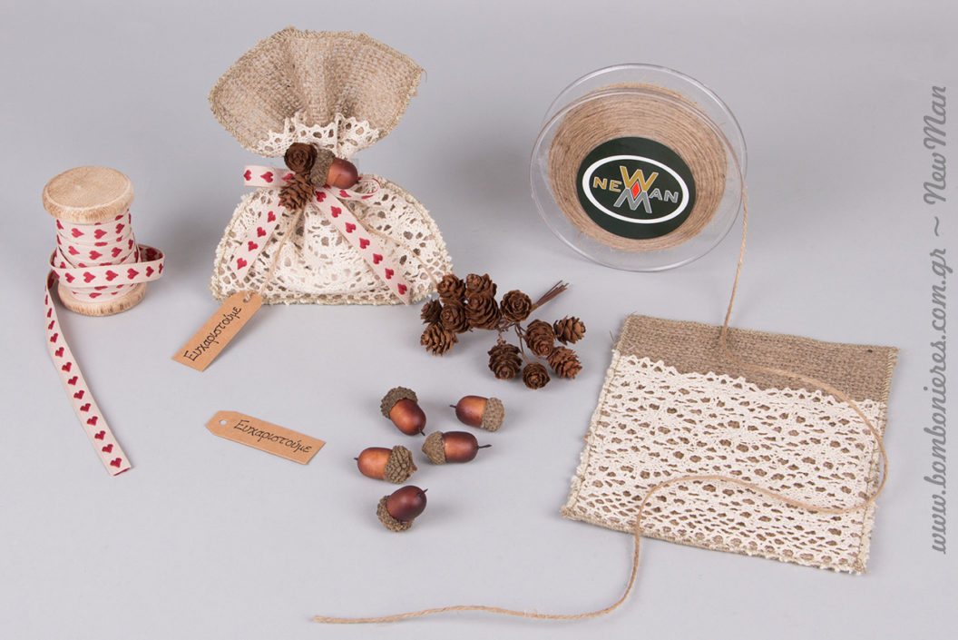 Όταν η παράδοση συναντά τη φύση: μπομπονιέρα με έμπνευση τους καρπούς του χειμώνα (βελανίδια και κουκουνάρια ματσάκι).