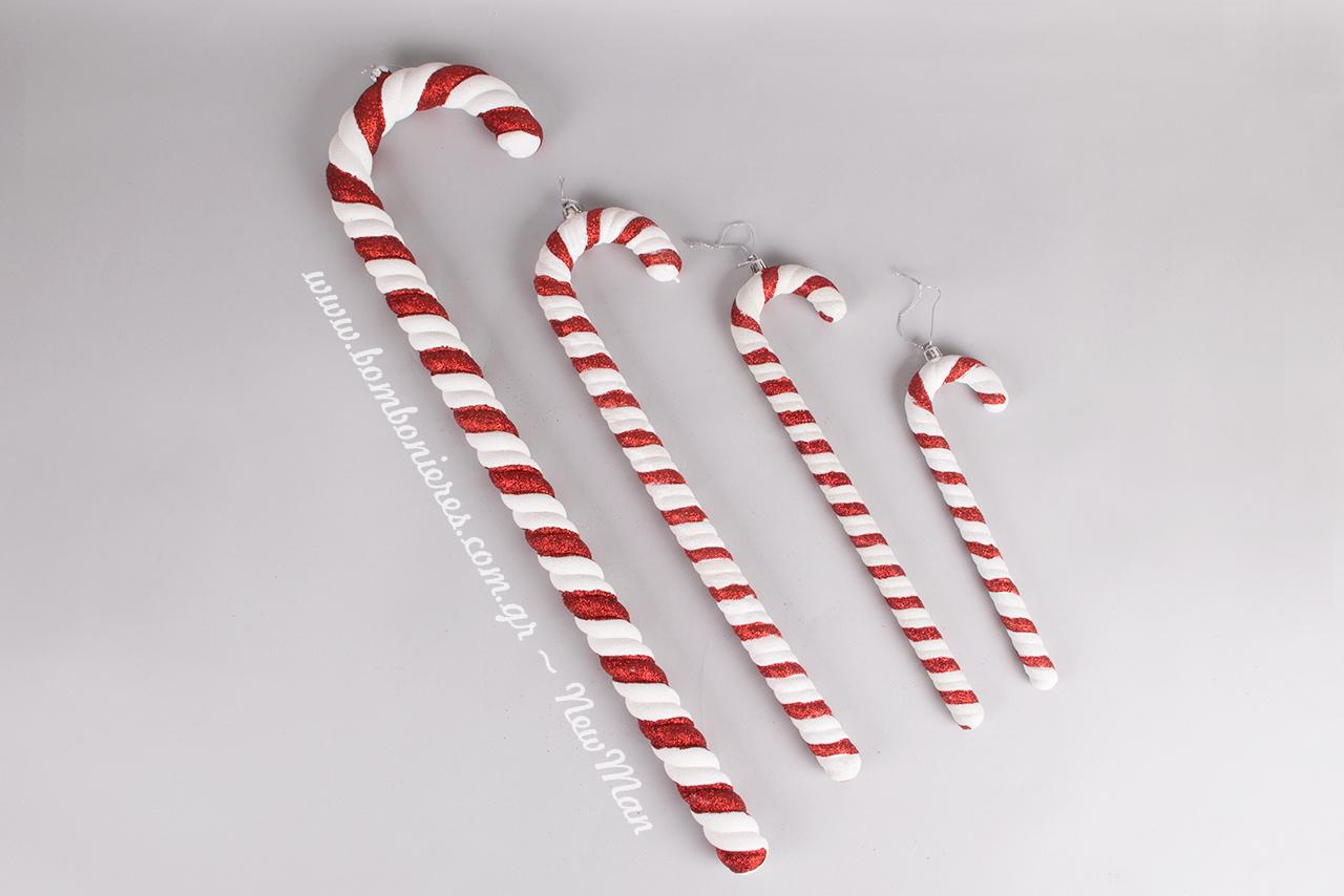 Κρεμαστά διακοσμητικά μπαστούνια (κόκκινο-άσπρο) για την χριστουγεννιάτικη διακόσμηση. Διατίθενται σε 4 διαφορετικά μεγέθη.
