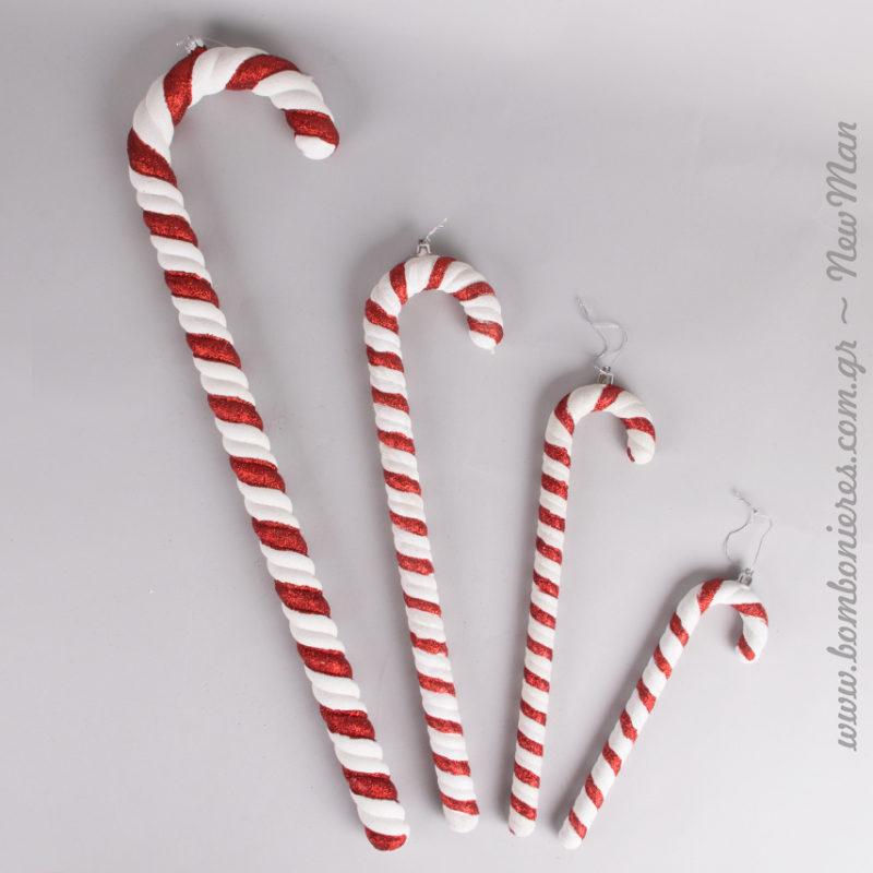 Τα διακοσμητικά ζαχαρωτά μπαστουνάκια διατίθενται σε 4 διαφορετικά μεγέθη και θα ενθουσιάσουν με τη φρεσκάδα τους.
