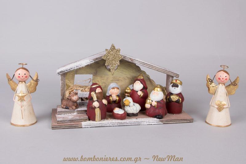 Χριστουγεννιάτικη Φάτνη με φως LED (29 x 16cm) και μεταλλικά αγγελάκια για τον εορταστικό στολισμό σας.