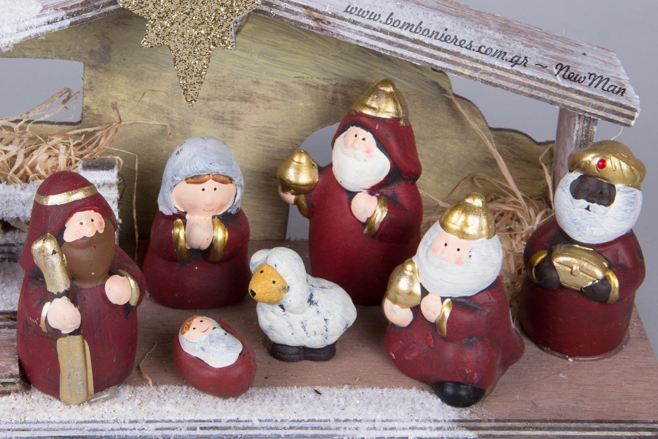 Χριστουγεννιάτικη Φάτνη με φως LED και υπέροχες, μοντέρνα σχεδιασμένες φιγούρες.