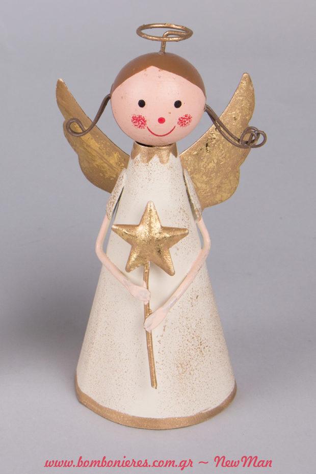 Μεταλλική αγγελάκι που κρατάει αστέρια σε χρυσαφένιες αποχρώσεις (12cm).