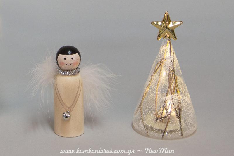 Ξύλινη Αγγελίνα (10cm) και γυάλινο δεντράκι LED (6 x 14cm) για την εορταστική διακόσμηση ή τα συμβολικά δωράκια σας.
