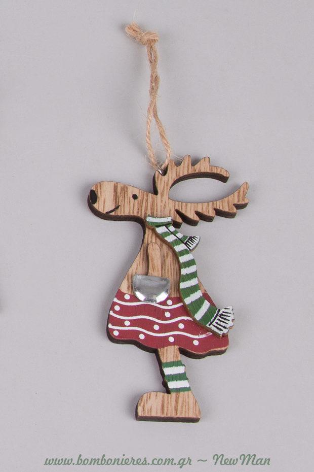 Ξύλινο στολίδι τάρανδος (κορίτσι) με κασκόλ, πουά φούστα και ριγέ κάλτσες για το χριστουγεννιάτικο στολισμό σας.