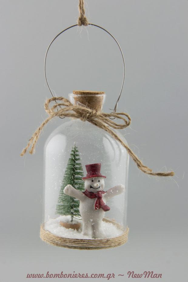 353152 Γυάλινο χριστουγεννιάτικο μπουκάλι με χιονάνθρωπο και χριστουγεννιάτικο δέντρο (6-10cm).