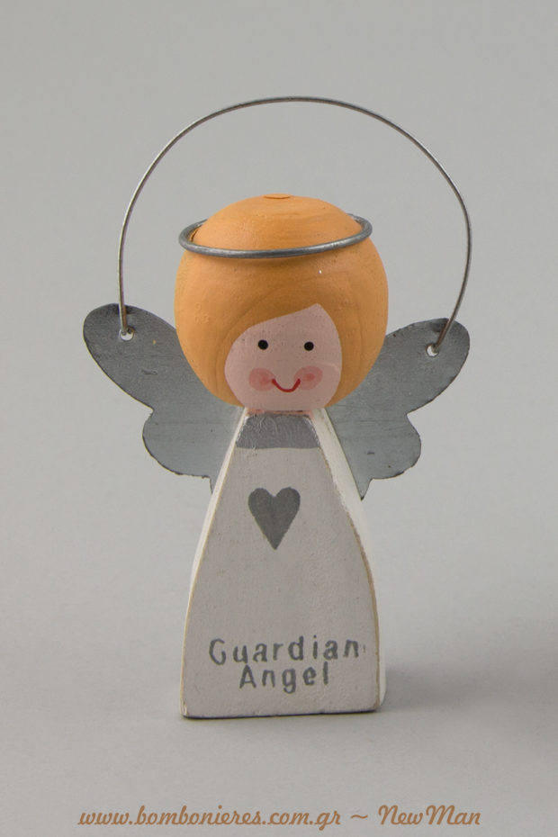 Guardian angel με ξανθά μαλλάκια και μεταλλικές λεπτομέρειες (9cm) για το στολισμό και τις κάθε είδους χριστουγεννιάτικες συνθέσεις σας.