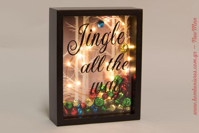 Χριστουγεννιάτικο καδράκι Jingle all the way (12 x 22 x 2cm) με φως Led και κουδουνάκια.