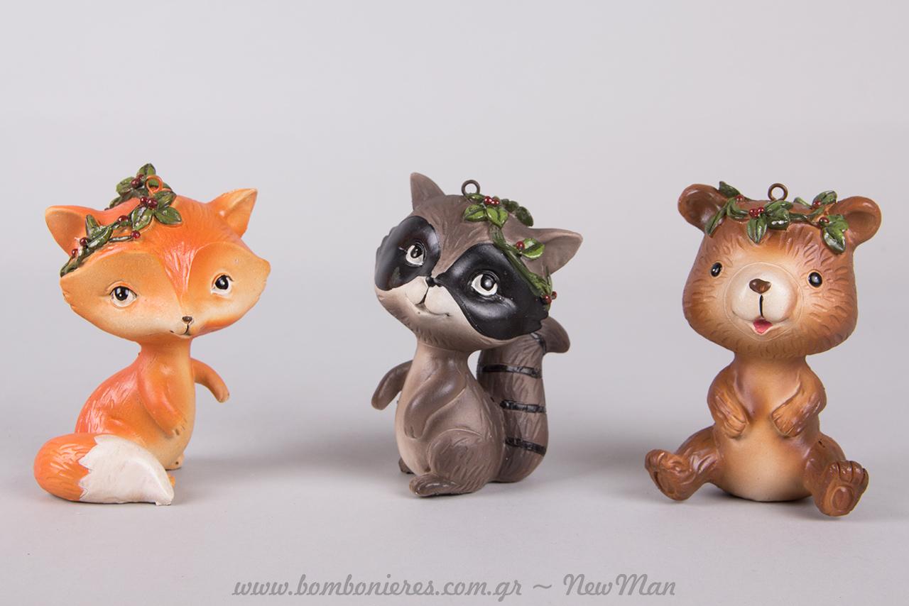 Κι άλλες μινιατούρες- ζωάκια του δάσους (ρακούν, αλεπού, αρκουδάκι) 11cm.