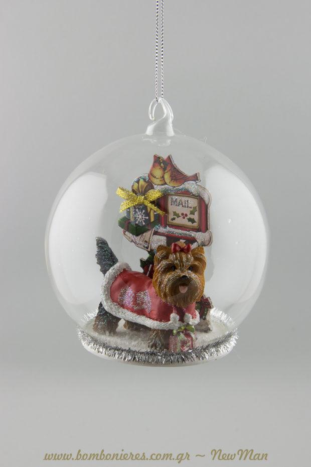 380583 Γυάλινη μπάλα με yorkshire terrier (12cm). Μια υπέροχη ιδέα για δωράκι σε φίλο ή συγγενή που λατρεύει τα χαριτωμένα αυτά σκυλάκια.