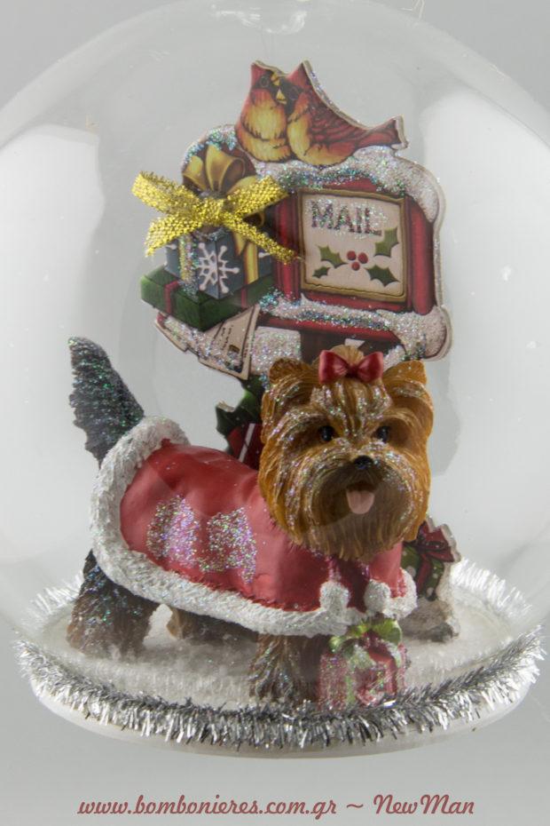 380583 Γυάλινη μπάλα με Τσιουάουα (12cm). Μια υπέροχη ιδέα για δωράκι σε φίλο ή συγγενή που λατρεύει τα χαριτωμένα αυτά σκυλάκια.