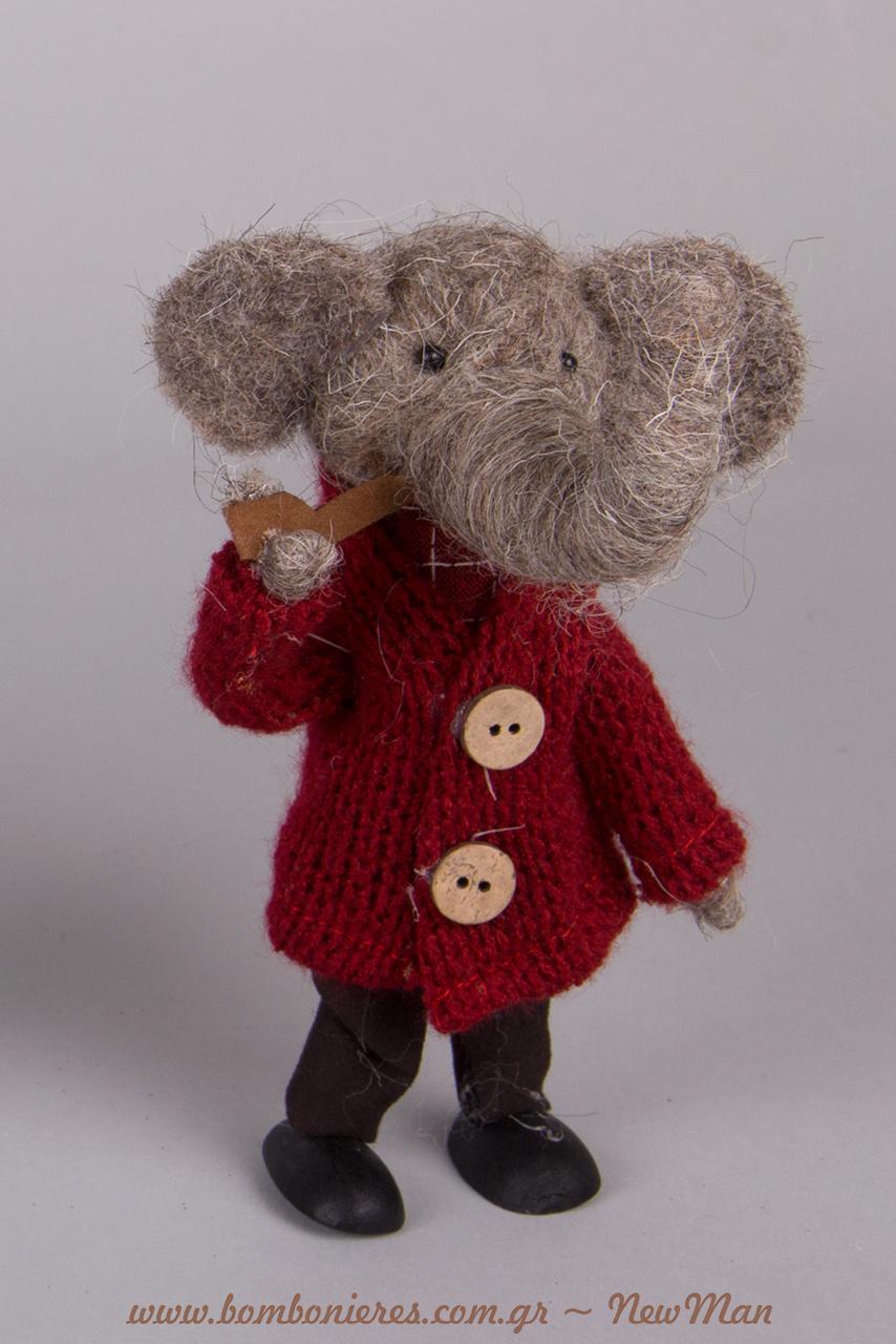 Ένας διακοσμητικός τσόχινος ελέφαντας με στυλ και άποψη (16cm) για τη χριστουγεννιάτικη/χειμωνιάτικη διακόσμηση ή τα δωράκια σας.
