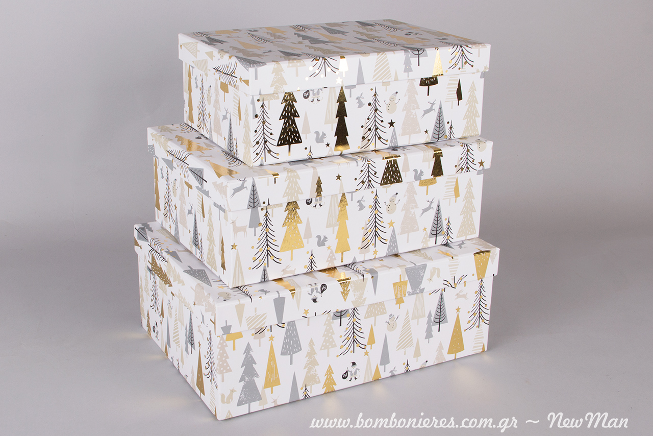 Ορθογώνια χριστουγεννιάτικα κουτιά σε χρυσαφί αποχρώσεις και σε διάφορα μεγέθη (17x24x9cm, 19x26x10cm, 21x29x11cm).