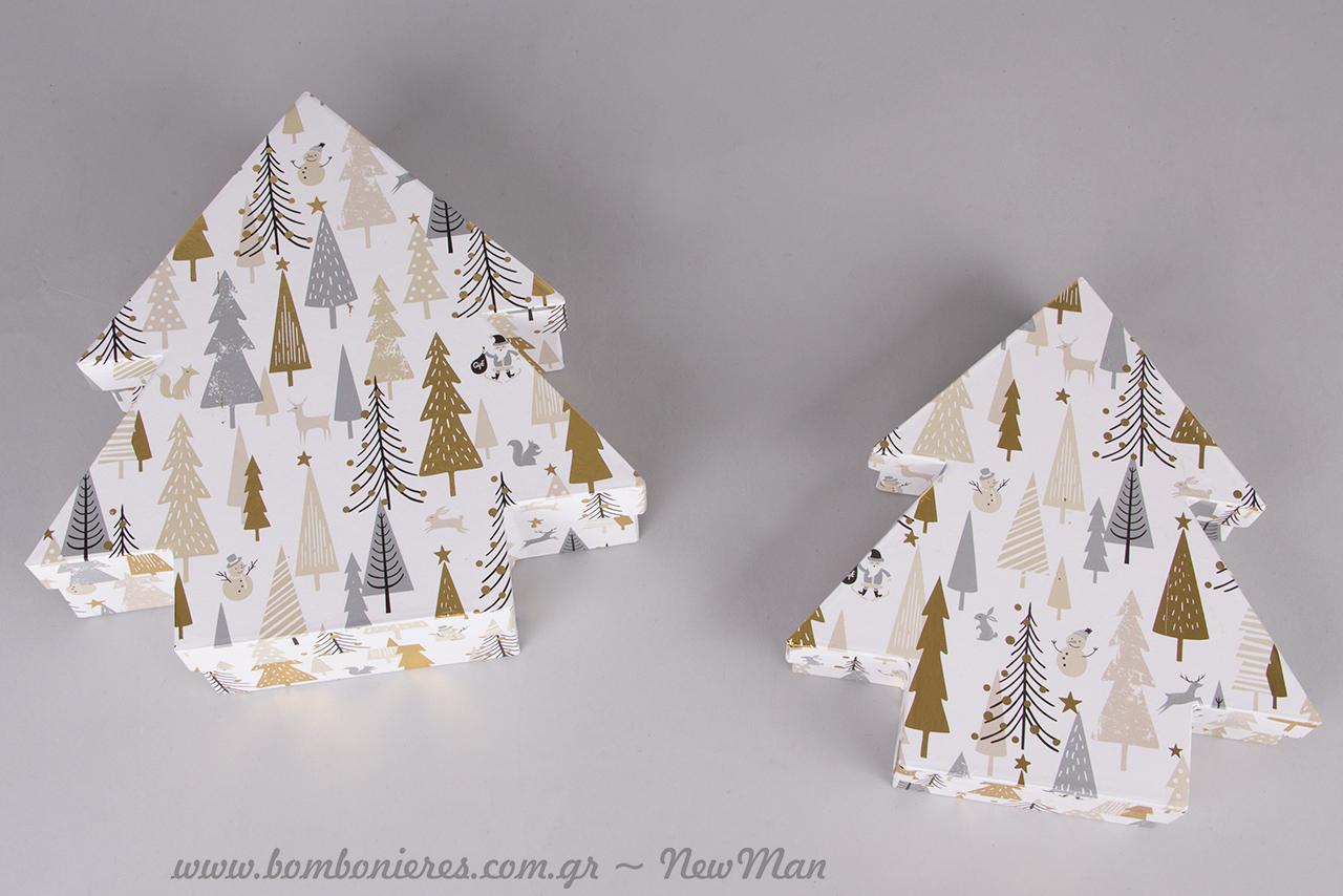 Χάρτινο κουτί σε σχήμα δεντράκι με υπέροχο χριστουγεννιάτικο σχέδιο (20x21x4cm, 22x23x6cm).