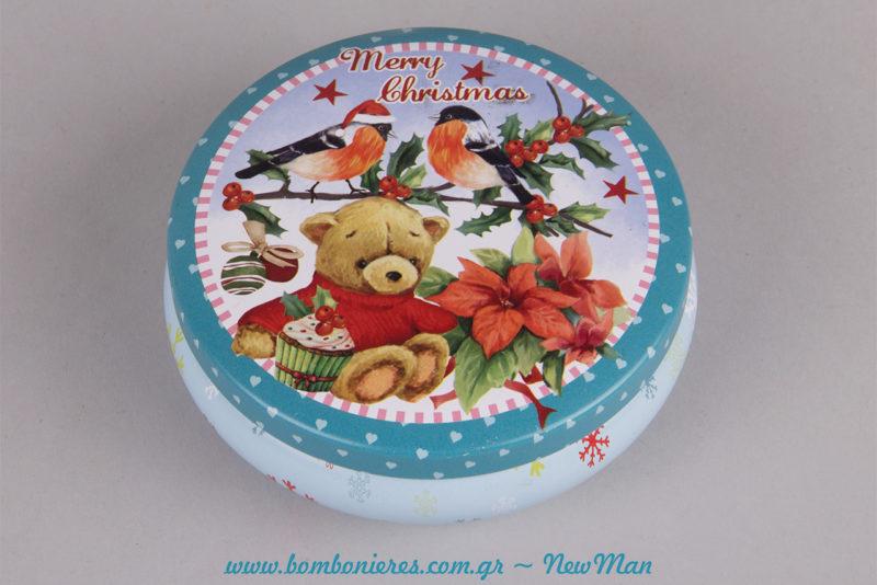 Γαλάζιο στρογγυλό μεταλλικό κουτί (φ. 11 x 4cm) με λουλούδια, πουλάκια κι ένα γλυκύτατο αρκουδάκι που σας εύχεται Merry Christmas!